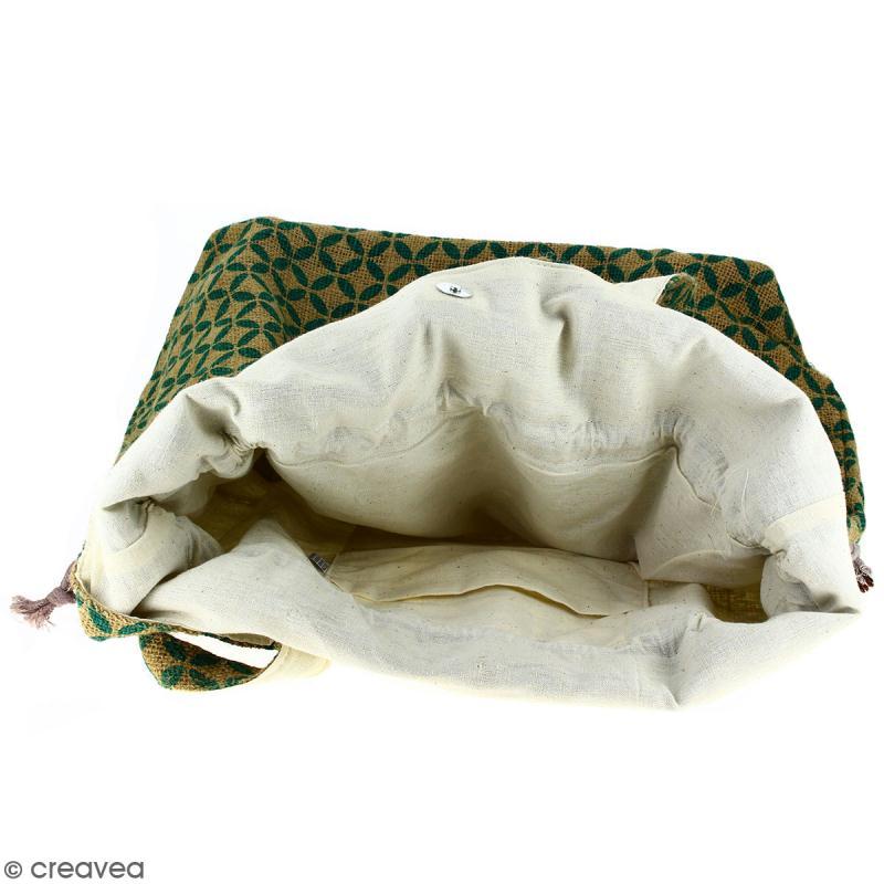 Grand sac seau en jute naturelle - Quatre-feuilles - Vert sapin - 43 x 45 cm - Photo n°2
