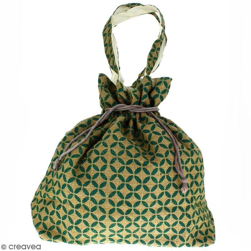 Grand sac seau en jute naturelle - Quatre-feuilles - Vert sapin - 43 x 45 cm - Photo n°1