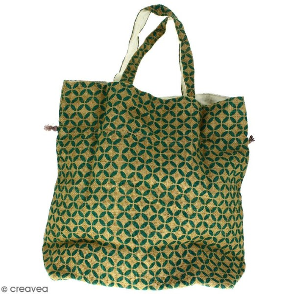 Grand sac seau en jute naturelle - Quatre-feuilles - Vert sapin - 43 x 45 cm - Photo n°3