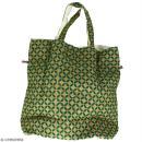 Grand sac seau en jute naturelle - Quatre-feuilles - Vert sapin - 43 x 45 cm - Photo n°3
