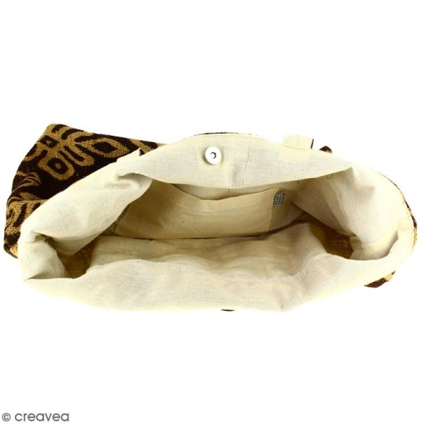 Grand sac seau en jute naturelle - Polynésien (grands motifs) - Marron - 43 x 45 cm - Photo n°2