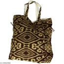 Grand sac seau en jute naturelle - Polynésien (grands motifs) - Marron - 43 x 45 cm - Photo n°3