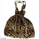 Grand sac seau en jute naturelle - Polynésien (grands motifs) - Marron - 43 x 45 cm - Photo n°1