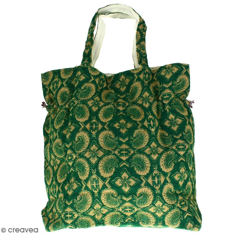 Grand sac seau en jute naturelle - Paisley - Vert sapin - 43 x 45 cm - Photo n°3