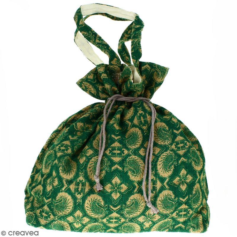 Grand sac seau en jute naturelle - Paisley - Vert sapin - 43 x 45 cm - Photo n°1