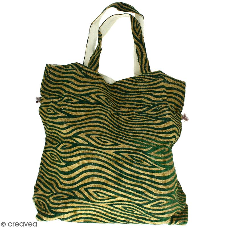 Grand sac seau en jute naturelle - Zébré - Vert foncé - 43 x 45 cm - Photo n°3
