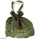Grand sac seau en jute naturelle - Zébré - Vert foncé - 43 x 45 cm - Photo n°1