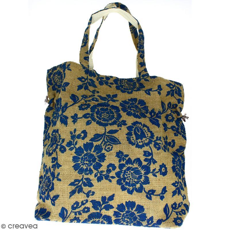 Grand sac seau en jute naturelle - Fleurs - Bleu - 43 x 45 cm - Photo n°3