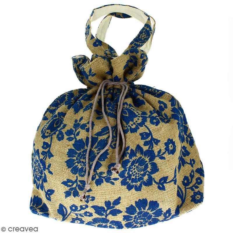 Grand sac seau en jute naturelle - Fleurs - Bleu - 43 x 45 cm - Photo n°1