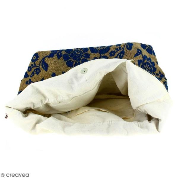 Grand sac seau en jute naturelle - Fleurs - Bleu - 43 x 45 cm - Photo n°2
