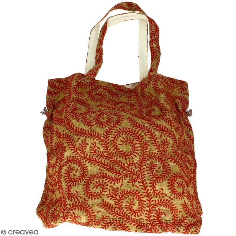 Grand sac seau en jute naturelle - Arabesques Végétales - Rouge foncé - 43 x 45 cm - Photo n°3