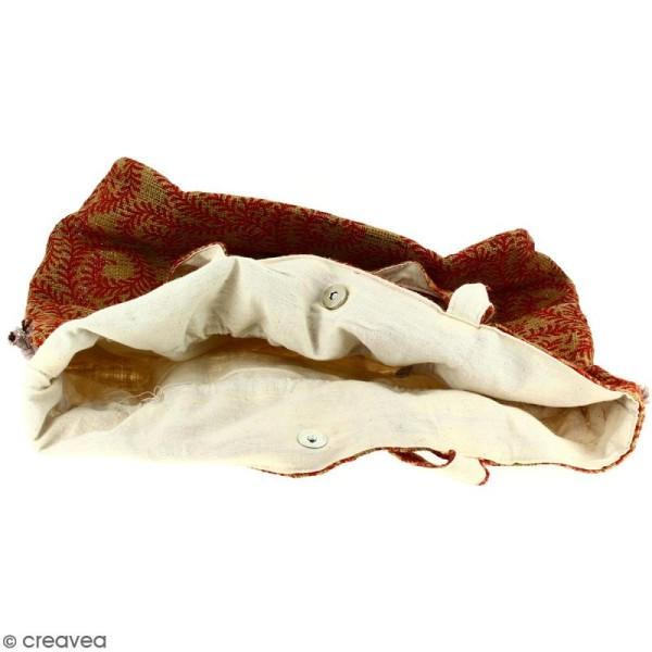 Grand sac seau en jute naturelle - Arabesques Végétales - Rouge foncé - 43 x 45 cm - Photo n°2