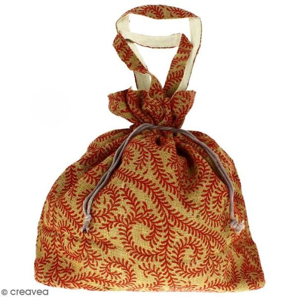 Grand sac seau en jute naturelle - Arabesques Végétales - Rouge foncé - 43 x 45 cm - Photo n°1