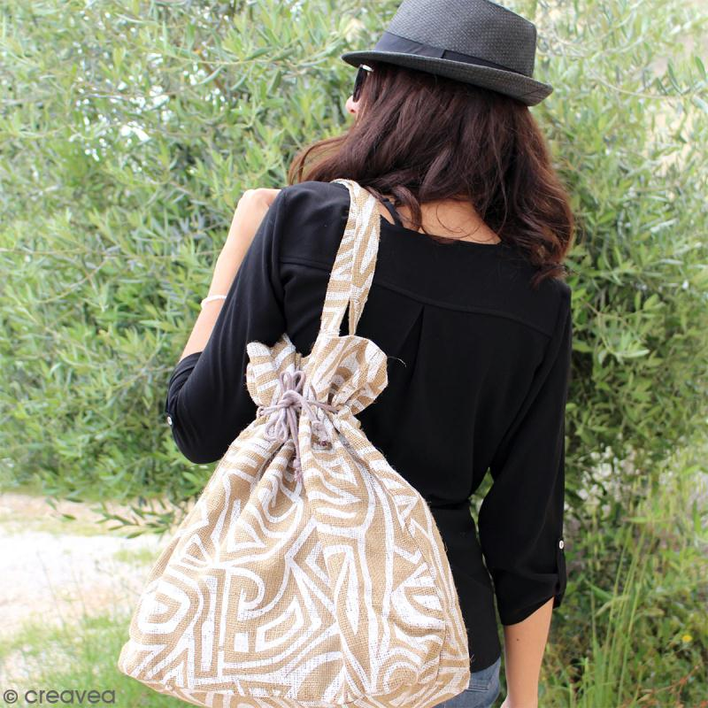 Grand sac seau en jute naturelle - Tribal ethnique - Blanc - 43 x 45 cm - Photo n°4