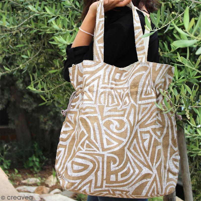 Grand sac seau en jute naturelle - Tribal ethnique - Blanc - 43 x 45 cm - Photo n°6