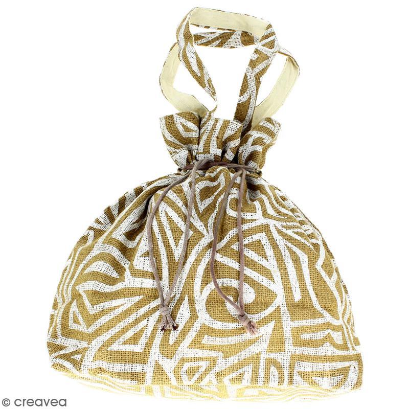 Grand sac seau en jute naturelle - Tribal ethnique - Blanc - 43 x 45 cm - Photo n°1