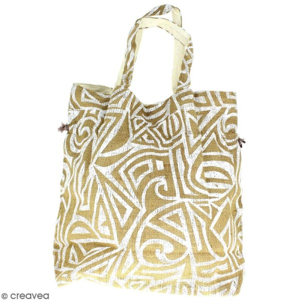 Grand sac seau en jute naturelle - Tribal ethnique - Blanc - 43 x 45 cm - Photo n°3