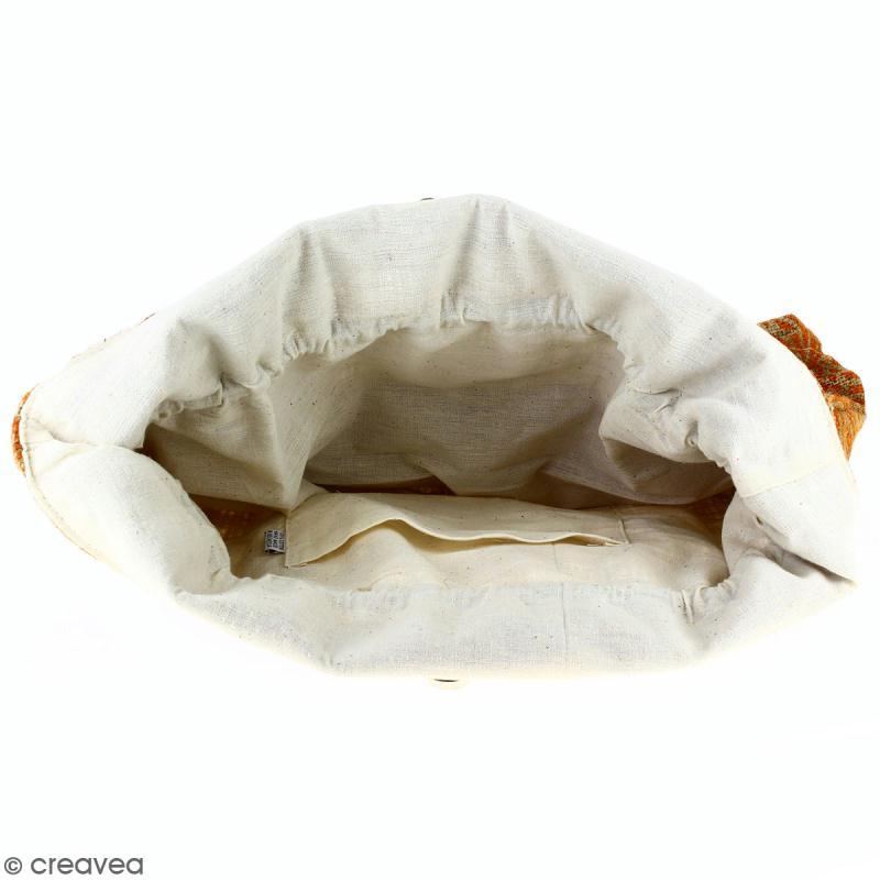 Grand sac seau en jute naturelle - Polynésien - Orange - 43 x 45 cm - Photo n°2