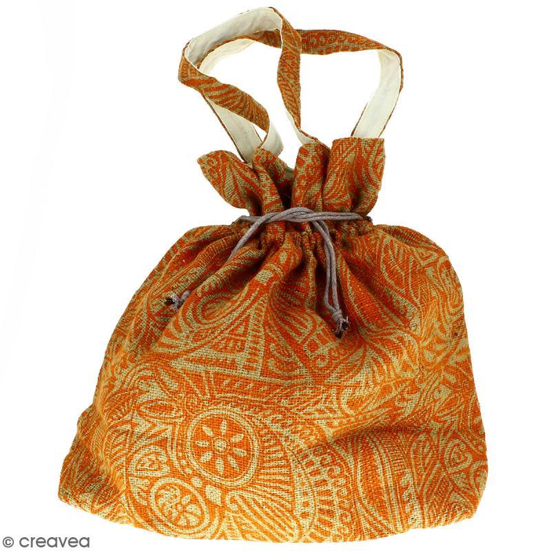 Grand sac seau en jute naturelle - Polynésien - Orange - 43 x 45 cm - Photo n°1