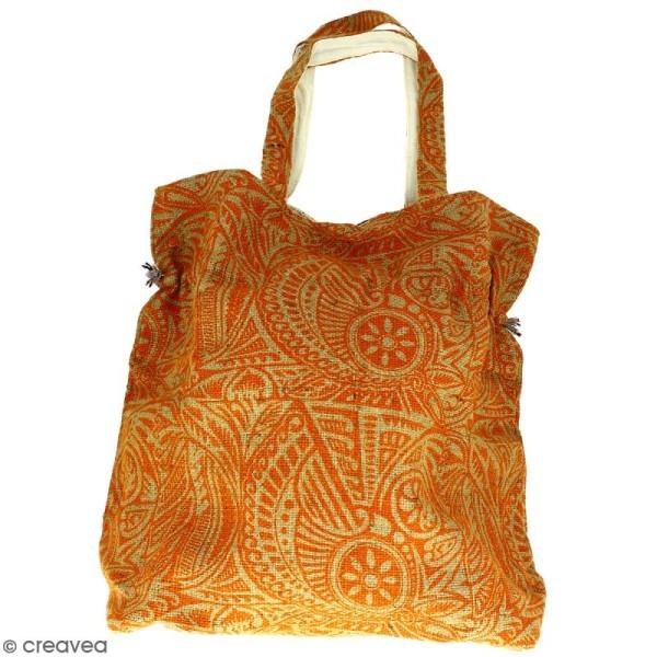 Grand sac seau en jute naturelle - Polynésien - Orange - 43 x 45 cm - Photo n°3