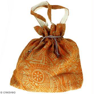 Grand sac seau en jute naturelle - Polynésien - Orange - 43 x 45 cm