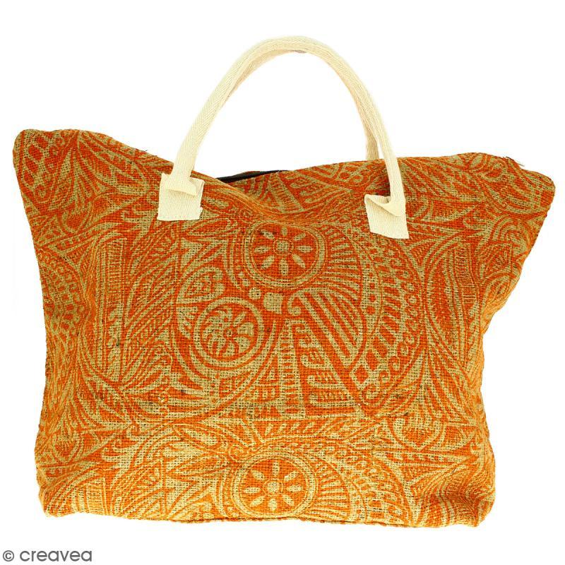 Sac shopping en jute naturelle - Polynésien - Orange - 50 x 38 cm - Photo n°1