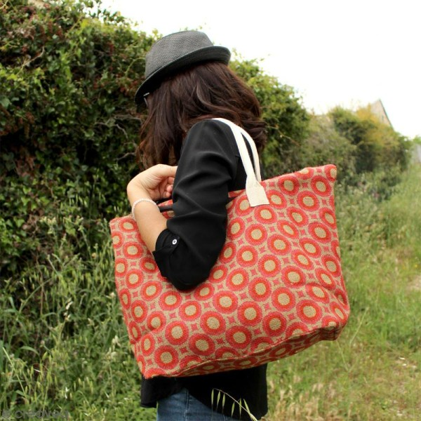 Sac shopping en jute naturelle - Polynésien - Orange - 50 x 38 cm - Photo n°4