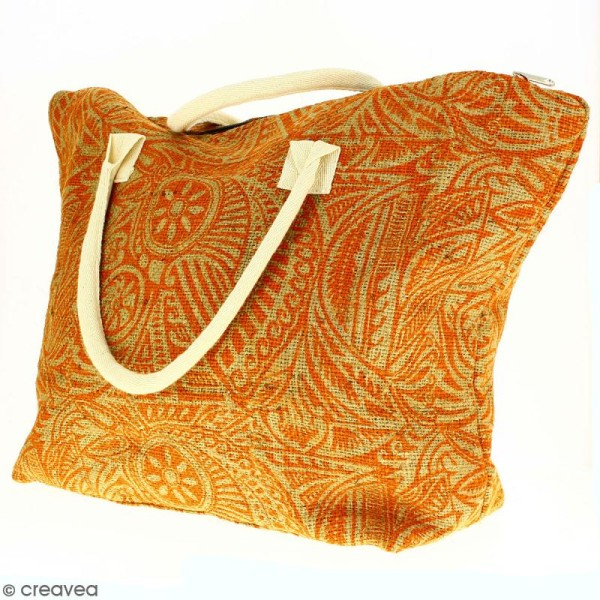 Sac shopping en jute naturelle - Polynésien - Orange - 50 x 38 cm - Photo n°5