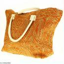 Sac shopping en jute naturelle - Polynésien - Orange - 50 x 38 cm - Photo n°5