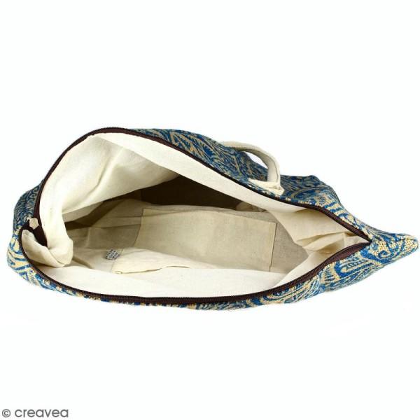 Sac shopping en jute naturelle - Polynésien - Bleu - 50 x 38 cm - Photo n°3