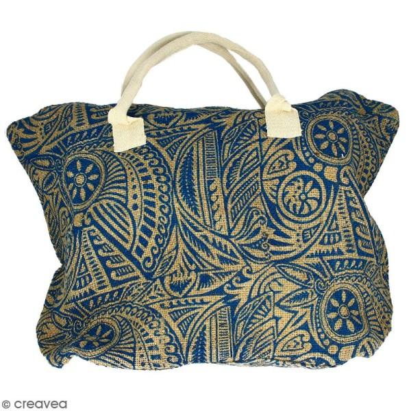 Sac shopping en jute naturelle - Polynésien - Bleu - 50 x 38 cm - Photo n°1