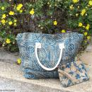 Sac shopping en jute naturelle - Polynésien - Bleu - 50 x 38 cm - Photo n°5