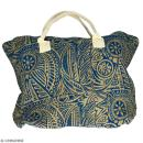 Sac shopping en jute naturelle - Polynésien - Bleu - 50 x 38 cm - Photo n°1