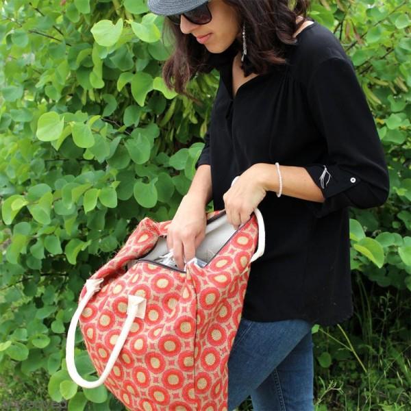 Sac shopping en jute naturelle - Cercles et carrés - Rouge - 50 x 38 cm - Photo n°6