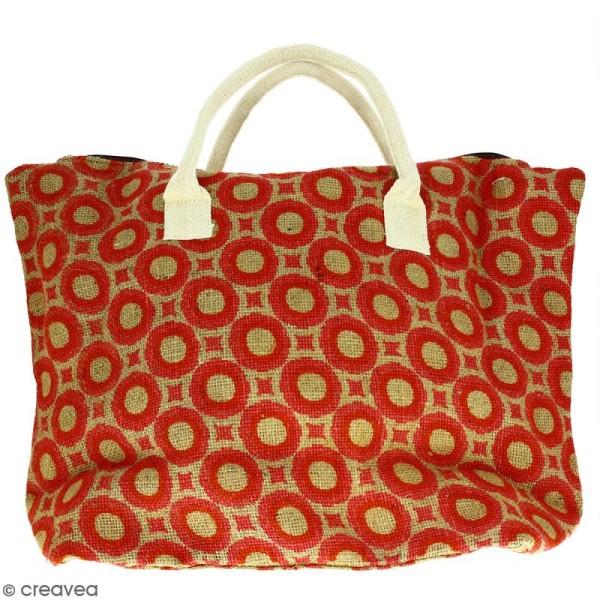 Sac shopping en jute naturelle - Cercles et carrés - Rouge - 50 x 38 cm - Photo n°1