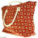 Sac shopping en jute naturelle - Cercles et carrés - Rouge - 50 x 38 cm - Photo n°5