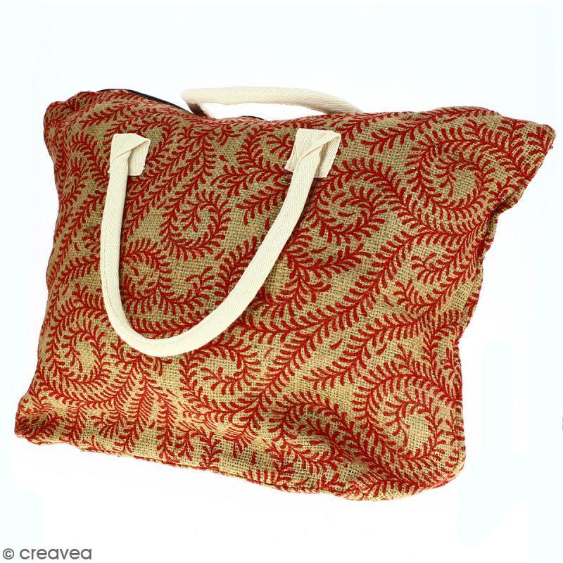 Sac shopping en jute naturelle - Arabesques Végétales - Rouge foncé - 50 x 38 cm - Photo n°5