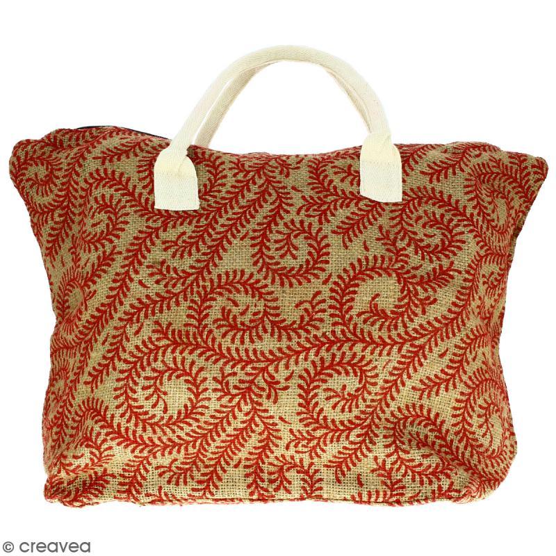 Sac shopping en jute naturelle - Arabesques Végétales - Rouge foncé - 50 x 38 cm - Photo n°1