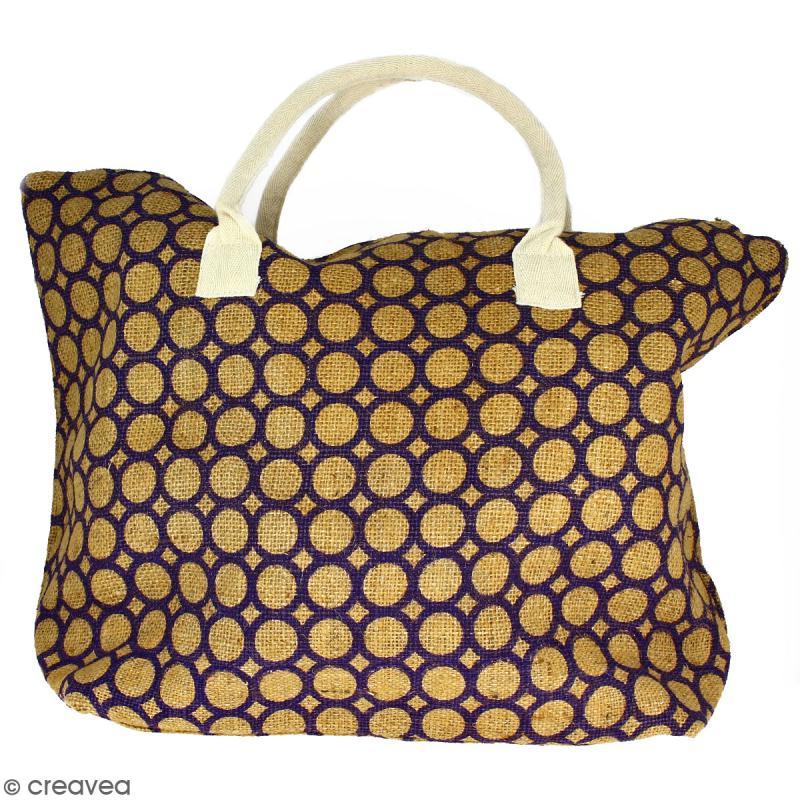 Sac shopping en jute naturelle - Cercle - Violet - 50 x 38 cm - Photo n°1