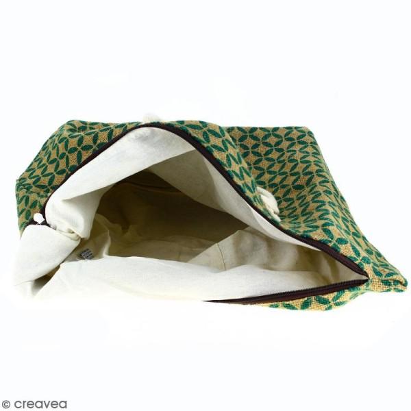 Sac shopping en jute naturelle - Quatre-feuilles - Vert sapin - 50 x 38 cm - Photo n°3