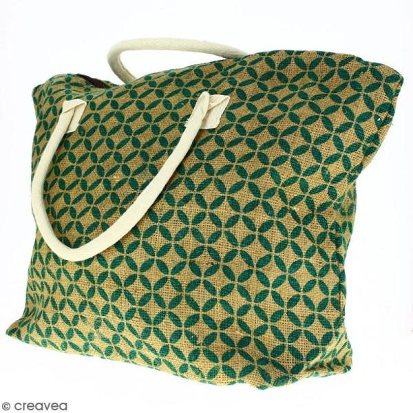 Sac shopping en jute naturelle - Quatre-feuilles - Vert sapin - 50 x 38 cm - Photo n°5