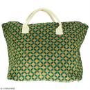 Sac shopping en jute naturelle - Quatre-feuilles - Vert sapin - 50 x 38 cm