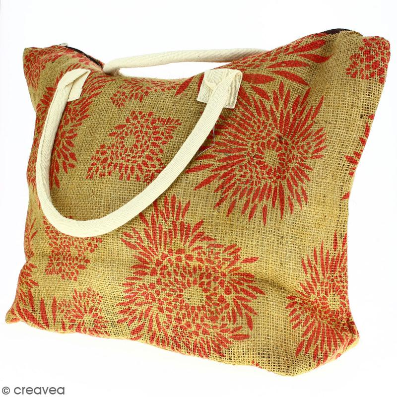 Sac shopping en jute naturelle - Feu d'artifice - Rouge clair - 50 x 38 cm - Photo n°5