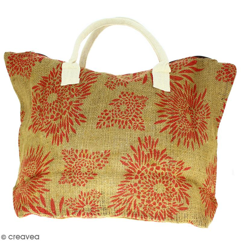 Sac shopping en jute naturelle - Feu d'artifice - Rouge clair - 50 x 38 cm - Photo n°1