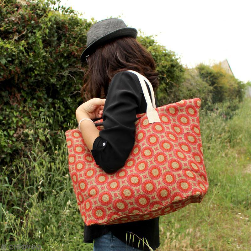 Sac shopping en jute naturelle - Fleurs - Rouge framboise - 50 x 38 cm - Photo n°4