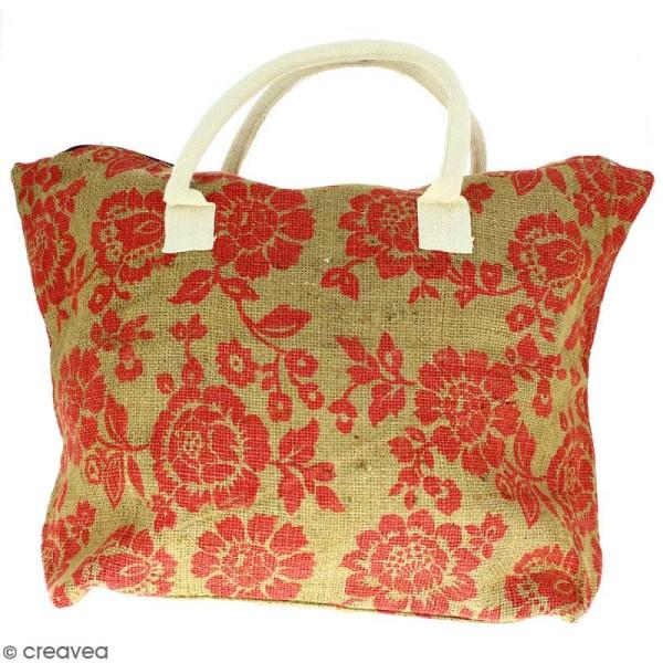 Sac shopping en jute naturelle - Fleurs - Rouge framboise - 50 x 38 cm - Photo n°1