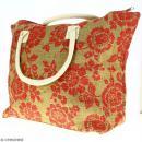 Sac shopping en jute naturelle - Fleurs - Rouge framboise - 50 x 38 cm - Photo n°5