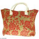 Sac shopping en jute naturelle - Fleurs - Rouge framboise - 50 x 38 cm