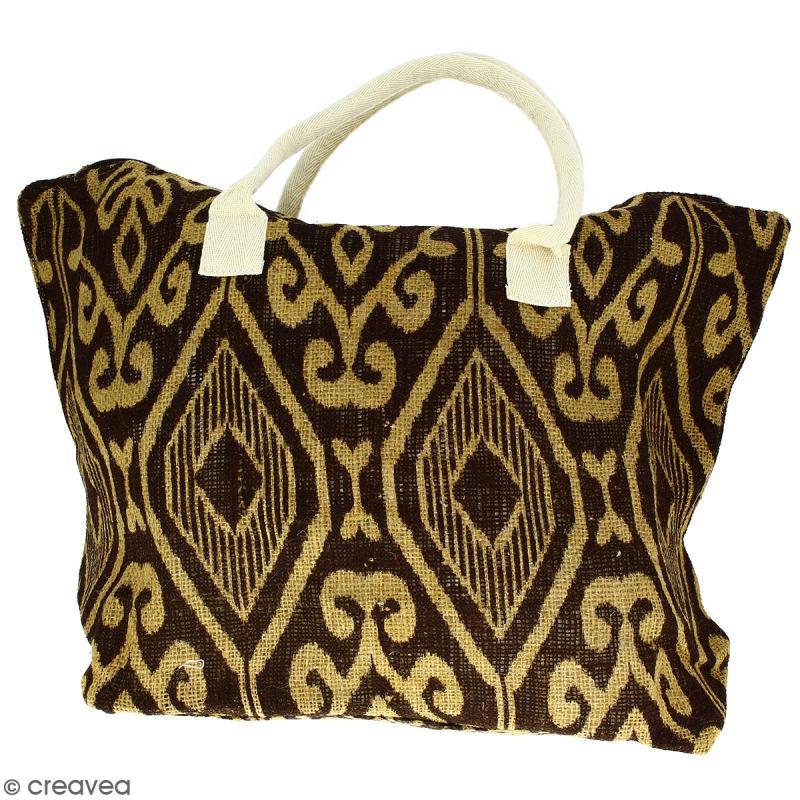 Sac shopping en jute naturelle - Polynésien (grands motifs) - Marron - 50 x 38 cm - Photo n°1