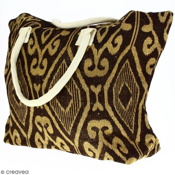 Sac shopping en jute naturelle - Polynésien (grands motifs) - Marron - 50 x 38 cm - Photo n°3